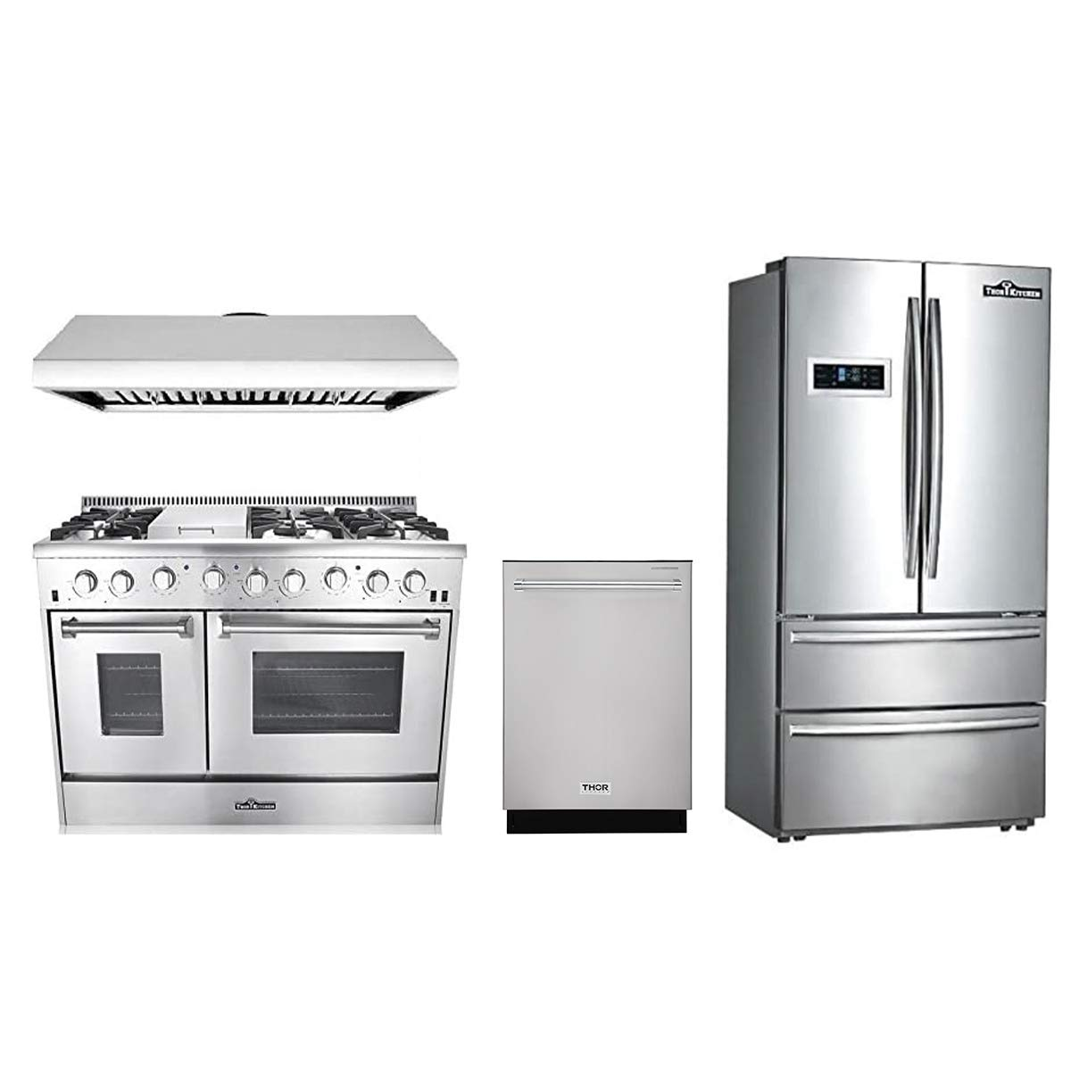 Amazon Com Thor Kitchen 4 Piece Bundle With 48 6 Burner Stainless Steel Gas Range 48 Under Cabinet Range Hood 36 Franch Door Fridge And 24 Dishwasher Appliances