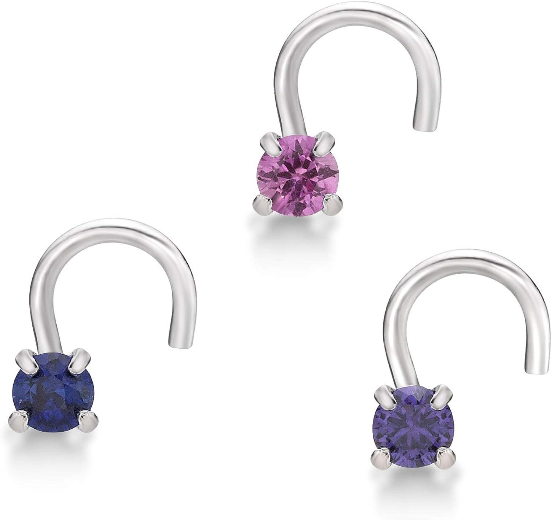 Lavari - 14K Gold 2mm Created Pink Blue Purple Sapphire Nose Ring Set…