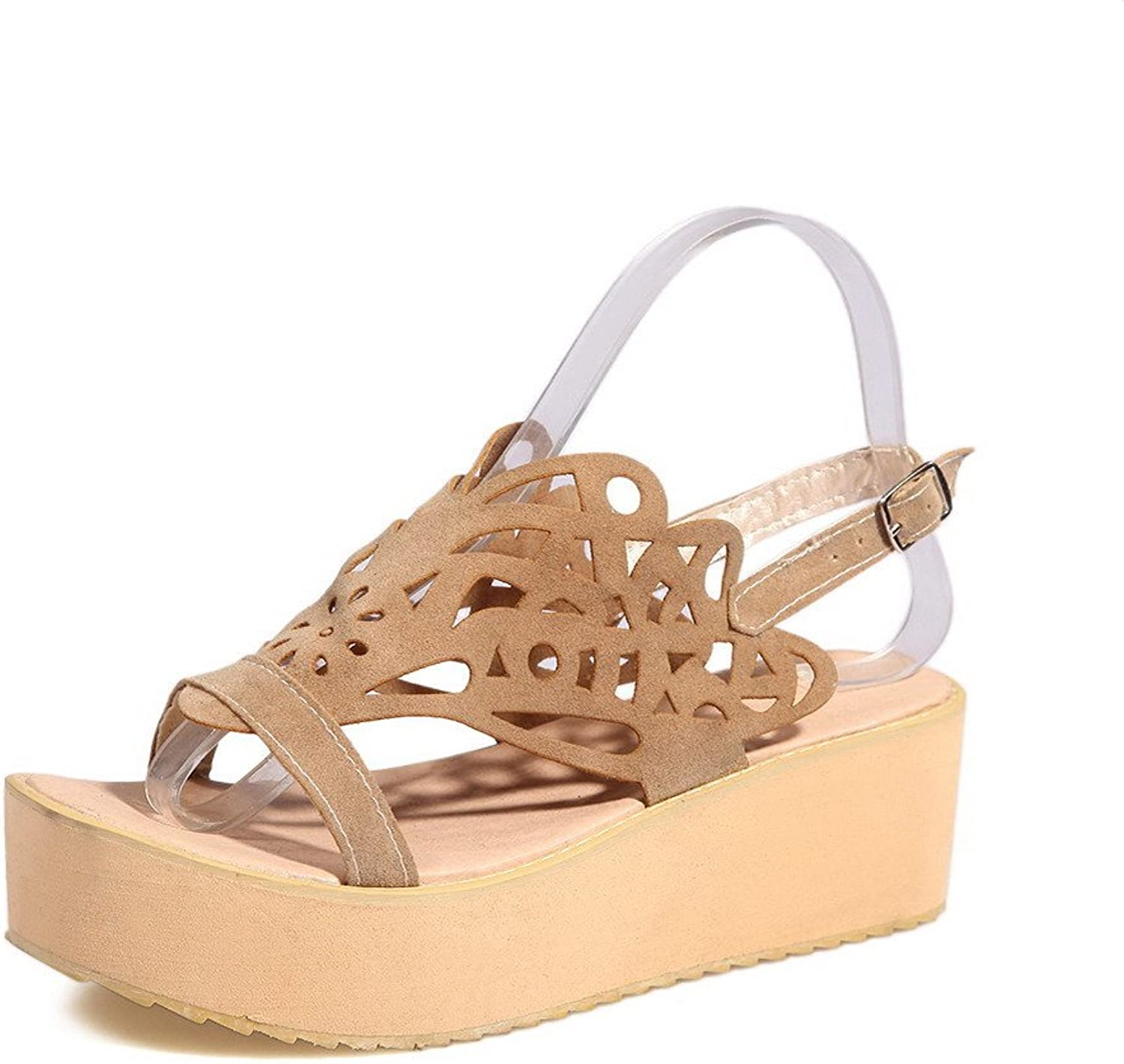 WeenFashion Women's Kitten-Heels Frosted Solid Buckle Open Toe Flats-Sandals