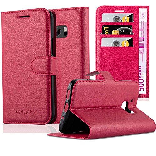 Cadorabo Hülle für HTC ONE M10 in Karmin ROT - Handyhülle mit Magnetverschluss, Standfunktion & Kartenfach - Hülle Cover Schutzhülle Etui Tasche Book Klapp Style