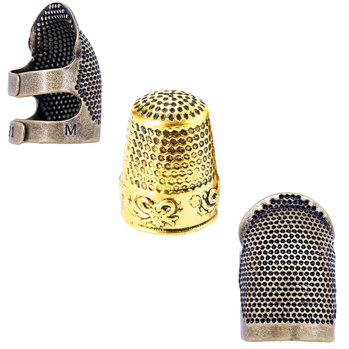 3 Pcs Sewing Thimble Finger Protector, Adjustable Fingertip Thimble Metal Shield Protector Pin Needles Sewing Quilting Craft Accessories DIY Sewing Tools