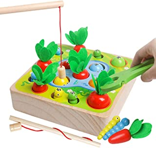 Wooden Montessori Toys for Toddler - Carrot Harvest Matching Puzzle,Fishing Games, 3 in 1 Shape Size Sorting Games for Dev...