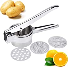 Premium Stainless Steel Potato Ricer Set with 3 Ricing Discs (Fine, Medium, Coarse) - Manual Masher, Baby Food Strainer, a...