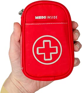 """Auvi Q Case, Travel Medical Bag – Small Medication Organizer Insulated Medicine Bag """"Rory"""" Red Mini Medic Pouch: Asthma In..."""