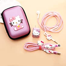 ZOEAST(TM) DIY Protectors Apple USB Data Line Cable Charger Earphone Wire Saver Protector Compatible with iPhone 5 5S SE 6 6S 7 8 Plus X XS Max iPad (Square Box, Kitty Cat)