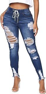 Dihope - Pantalones vaqueros para mujer, vaqueros, con agujeros, estilo informal, pantalones vaqueros, elásticos para otoñ...