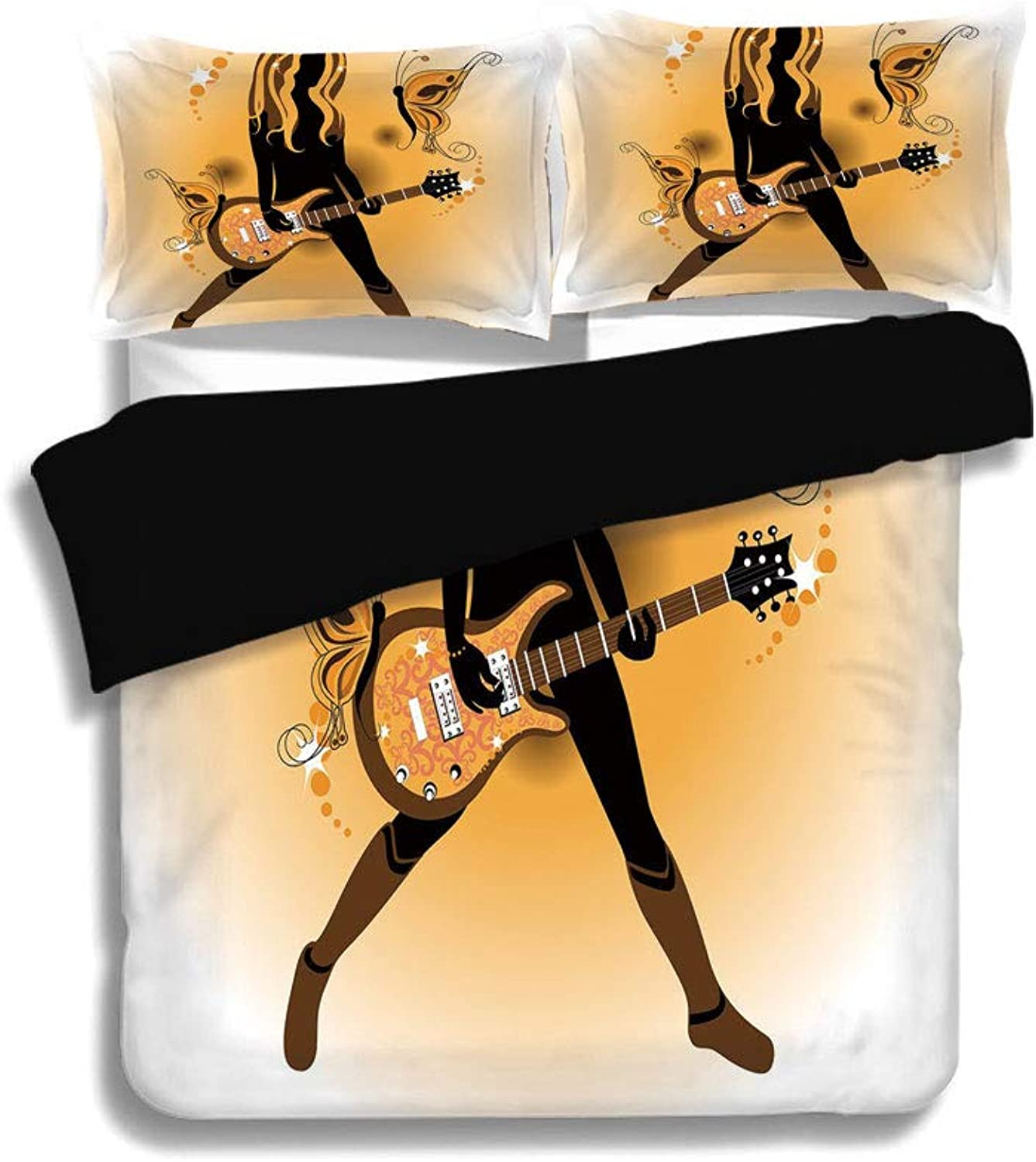 IPrint Black Duvet Cover Set Full Size,Popstar Party,Girl Silhouette with Hairstyle and Butterflies Playing Guitar Decorative,orange Brown Dark Brown,Decorative 3 Pcs Bedding Set by 2 Pillow Shams