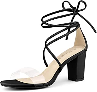 Allegra K Women's Clear Strap Block Heel Lace Up Heels Sandals