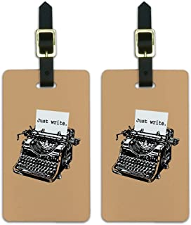 Just Write Antique Typewriter Writer Luggage ID Tags Cards Set of 2