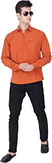 Button art Men Plain Slim Fit Full Sleeves Casual/Formal Wear Shirt (Orange)