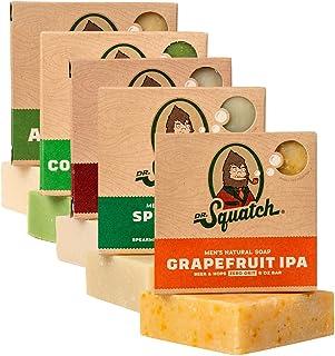 Dr. Squatch Men's Soap Sampler Pack (5 Bars) - Cedar Citrus, Spearmint Basil, Cool Fresh Aloe, Pine Tar, Gold Moss Bars - ...