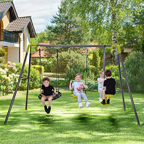 3 in 1 Metal Swing Set for Backyard, Outdoor Swing Set with Heavy Duty A-Frame and Height Adjustment, Kids Swing Set Frame for Garden, Backyard, Outside (3 in 1)