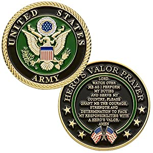 United States Army Challenge Coin with Hero's Valor Prayer 1-Pack (One Coin)