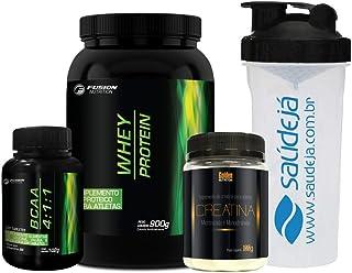 Kit Whey Protein - 900g + BCAA 4:1:1-120 Tabletes + Creatina Monoidratada + Coqueteleira SaúdeJá - Fusion Nutrition – Morango