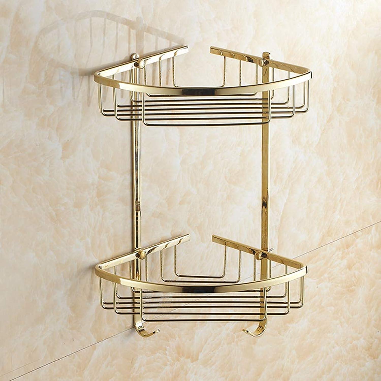 LUDSUY Bathroom accessoriesFull-Body Pvd Copper Zirconium gold Double Triangle Basket Storage Basket Bathroom Angle Bracket Shelving Corner 2Nd Floor Bathroom