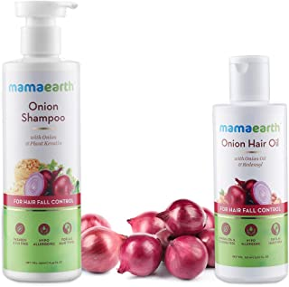 Mamaearth Anti Hair Fall Express Spa Range with Onion Hair Oil + Onion Shampoo for Hair Fall Control 250ml