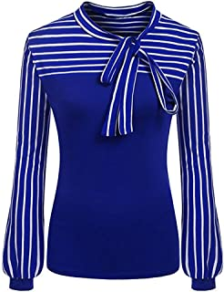 Women Blouse Daoroka Ladies Striped Bow Tie Long Sleeve Splicing Casual Loose Spring Summer Autumn Pullover T-Shirt Tops (2XL, Blue)