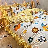 ALRZ Juego de 4 piezas de pequeñas hojas de encaje floral cepillado grueso edredón funda de cama falda de cama