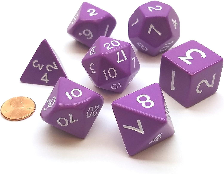 Purple Jumbo Size 7 Pc Polyhedral Dice Set D4, D6, D8, 2xd10, D12, D20