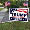 """ITC Donald Trump for President 2020 Yard Signs with H-Frames 12""""x18"""" (with 2 American Flags)"""
