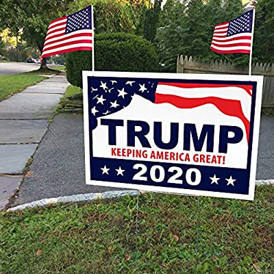 "ITC Donald Trump for President 2020 Yard Signs with H-Frames 12""x18"" (with 2 American Flags)"