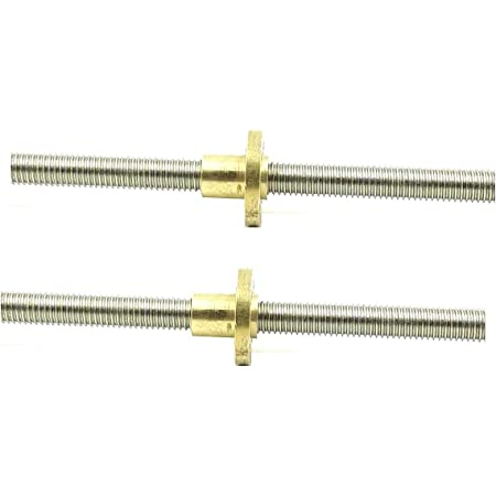 INVENTO 2Pcs 200mm (0.2 mtr) SS304 Threaded Rod M8 8mm OD + M8 nut 1.25mm Pitch 8mm T Nut Brass round Flange Single Nut for 3D Printer CNC Robotics