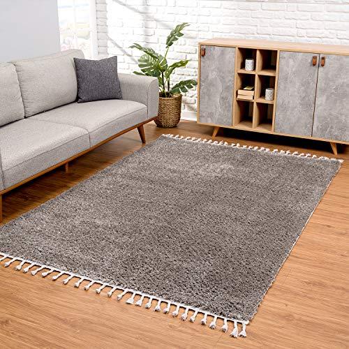 carpet city Teppich Wohnzimmer - Shaggy Hochflor Grau - 80x150 cm Einfarbig - Moderne Teppiche mit Fransen