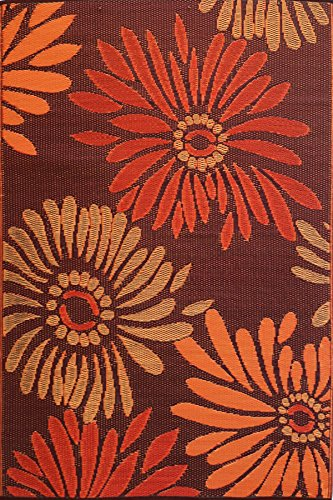 Mad Mats Daisy Indoor Outdoor Floor Mat, 5 by 8-Feet, Rust