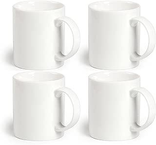 Momugs 12 oz Cup (4pcs), Plain Gloss White Ceramic Coffee Mug for Milk Tea, Set of 4
