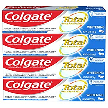 Colgate Total Whitening Toothpaste with Stannous Fluoride and Zinc Exclusive Whitening Mint 4.8 Oz  Pack of 4