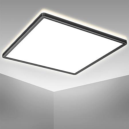 B.K.Licht Plafonnier LED ultra plat 29mm avec rétroéclairage indirect, platine LED 22W intégrée, 3000Lm, lumière blanche neutre 4000K, éclairage plafond 42x42cm