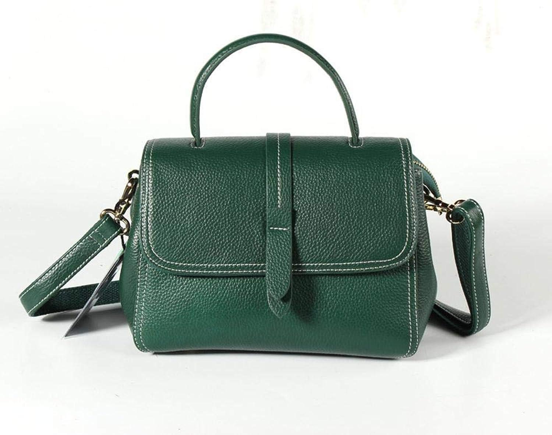 Ladies Handbag Women's Handbag Leather Horizontal Style SideCover Type Leather Leisure Bag (color   B)