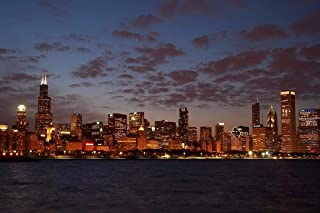 USWay 186059 Chicago Skyline at Night Blackhawks Cubs Bears Decor Wall 24x18 Poster Print