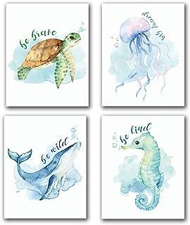 Ocean Themed Living Room Art Set Navy Blue Artwork Puffer Fish Art Betta Fish Print Sea Turtle Print Sea Life Print Set of 6