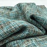 Tessuto Tweed Jackie – 100% poliestere, alla moda, per abbigliamento, cucito, 250 cm di lunghezza x 148 cm di larghezza, colore: blu, marrone