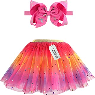 Girls Layered Tulle Rainbow Tutu Skirts with Colorful Hairbow or Butterfly Headband, Girls Dressing Up,Dancing Party Tutu.