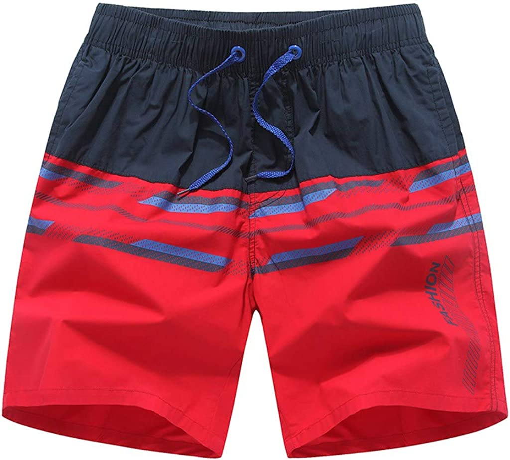 Men's Summer Casual Shorts Spliced Color Print Lace Up Beach Shorts Light Breathable Fashion Sports Short Pants - Limsea