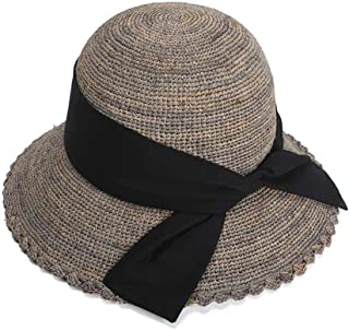 XueQing Pan Simple Sun Hat Lafite Grass Sun Hat Spring And Summer Idyllic Women Round Ribbon Dome Wavy Side Cross Butterfly Fisherman Hat Cap