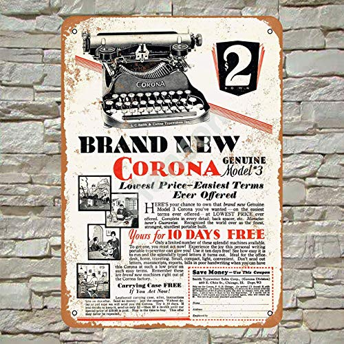 None Branded 1930 Corona Typewriters Blechschild Wanddekor Retro Metallplakat Painted Art Poster Dekoration Plaque Party Spielzimmer Warnung Band Yard Garden