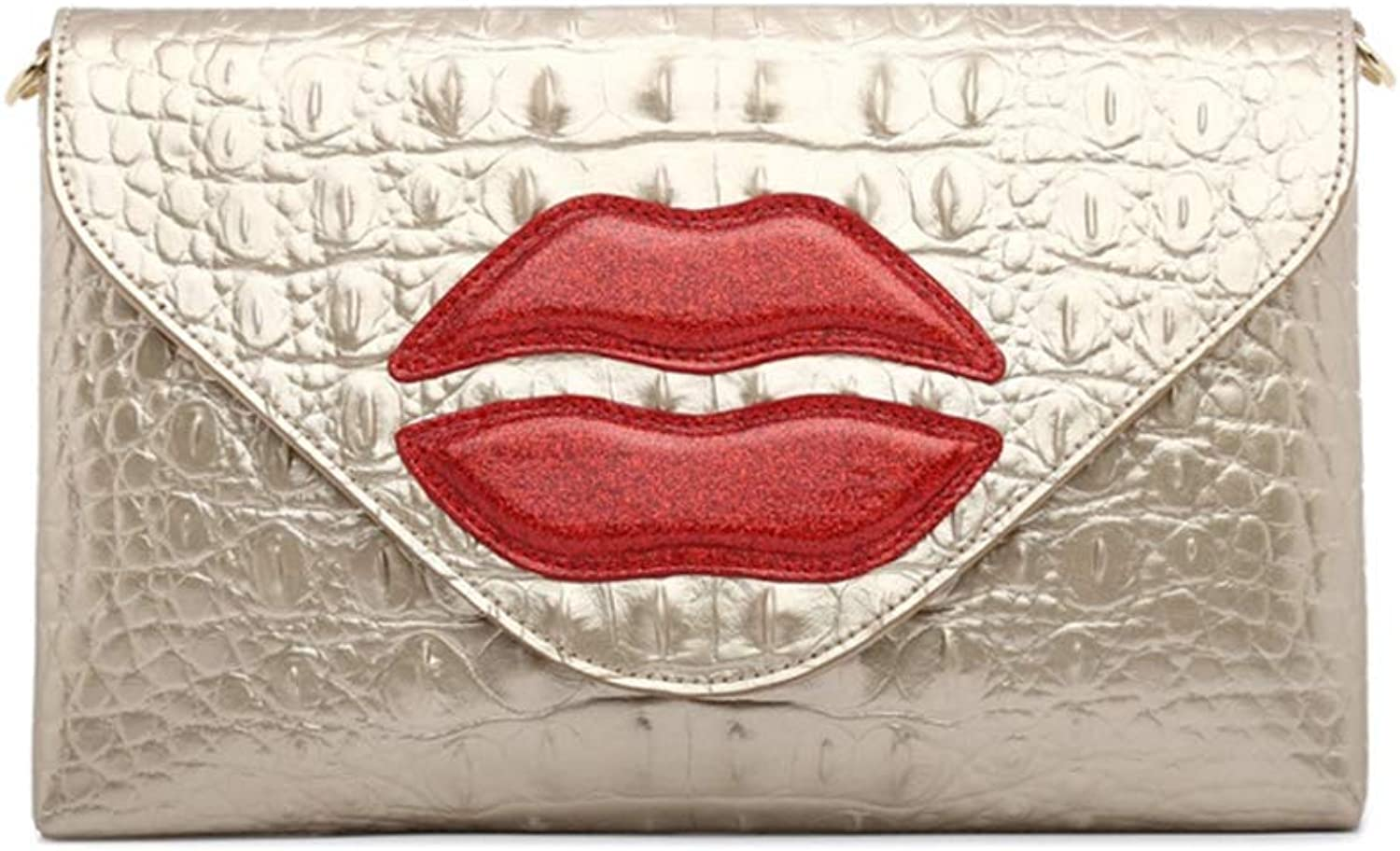 LVCSIUE European Women Black Genuine Leather Day Clutches with Red Crystal Lips Pattern Lady Crocodile Leather Wedding Purses