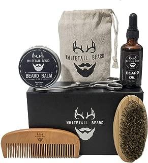 Beard Grooming Kit, Beard Comb, Beard Brush, Beard Oil, Mustache, Beard Butter Wax & Balm, Scissors for Styling with Gift Set