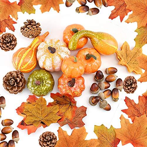 Cojoy Thanksgiving Dekoration Set, 128 Stück künstliche Ahornblätter, kleine Eicheln, Tannenzapfen und Kürbis für Herbst, Halloween Home Draussen Party Dekoration