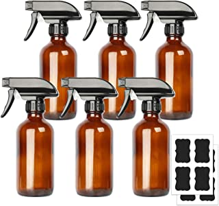 6 Pack 8 oz Amber Boston Glass Spray Bottles,Refillable Trigger Sprayers with Mist & Stream for Essential Oils, Bath, Beau...
