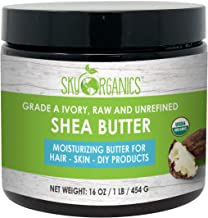 USDA Organic Unrefined African Shea Butter (454g) 100% Pure & Raw Ivory Moisturizing Butter - Rich Body Moisturizer for Dry Skin - Great for DIY Whipped Body Butters