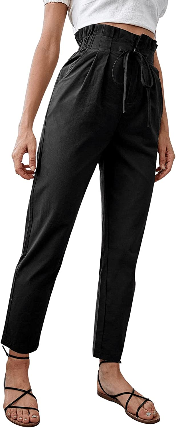 Floerns Women's Casual Cropped Drawstring Paper Bag Waisted Tapered Pants