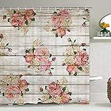 Smurfs Yingda Duschvorhang mit Rosenmotiv auf rustikalem Holzbrett, Vintage-Blumenmuster, Duschvorhang mit 12 Haken, Aquarell-Blumen, Retro-Landhaus-Duschvorhang für Badezimmer