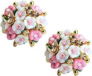YouBella Resin Stud Earrings Earrings for Women (White-Pink)(YBEAR_31457)