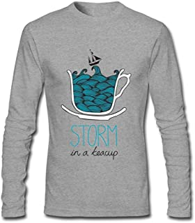 Tommery Men's Storm in A Teacup Long-Sleeve Cotton Cool T-Shirt XXXL