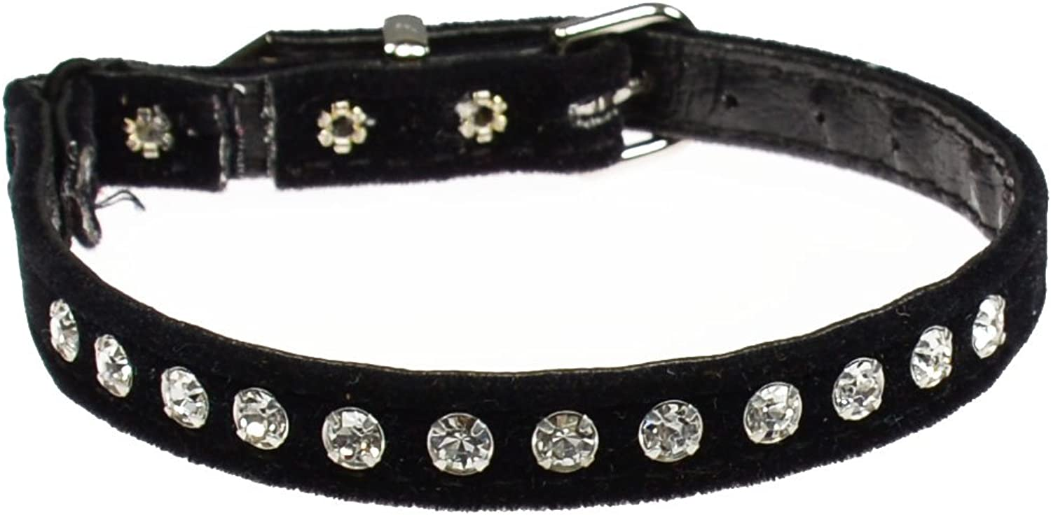 Evans Collars Jeweled Cat Safety Collar with Elastic, Size 8, Velvet, Black