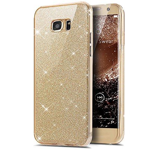 Kompatibel mit Galaxy S7 Hülle,Galaxy S7 Schutzhülle,Full-Body 360 Grad Bling Glänzend Glitzer Klar Durchsichtige TPU Silikon Hülle Handyhülle Tasche Case Front Cover Schutzhülle für Galaxy S7,Gold